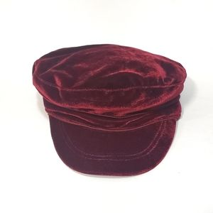 Women's Burgundy Newsboy Cap Velour Retro